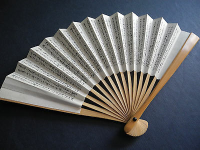 "Japan Fan Mini Paper Bamboo 6"" Hand Hold Women Lady Home Decor Collectible Vtg."