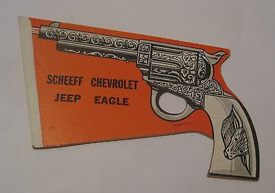 Nos Vintage Scheeff Chevrolet Jeep Eagle Doubled Sided Folding Advertising Sign