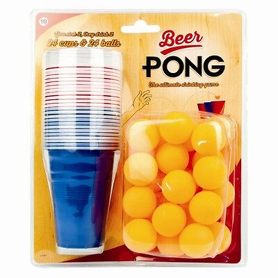 48pc Beer Pong Set Adult Drinking Game Alcohol Fun Gift American Party Beerpong