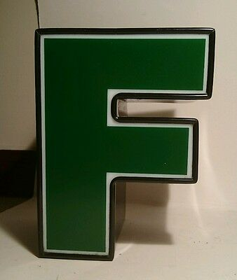 "LARGE VINTAGE STYLE 3D green ""F'  SHOP SIGN LETTER TIN WALL ART LETTER FONT"
