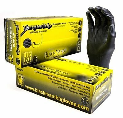 100 x Black Mamba TORQUE GRIP Nitrile Strong Mechanics Gloves L - LARGE
