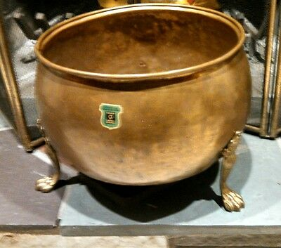 Vintage Massive Brass+Copper German Hand made footed Planter vgc rare find