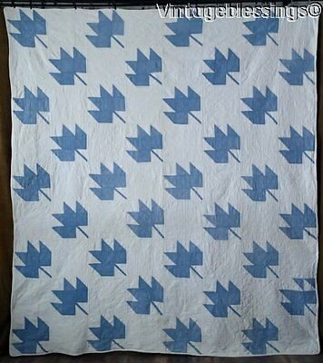 Classic ANTIQUE c1920-30s Blue & White Maple Leaf QUILT 88x78""