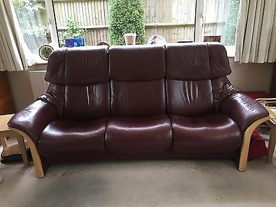 Ekornes Stressless   3 Seat High Back Reclining Leather Sofa