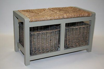 Grey Storage Bench with 2 Wicker Baskets - Hall Seating Storing Solution
