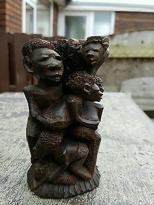 African hand carved Makonde Tree of Life Ujamaa, in ebony wood
