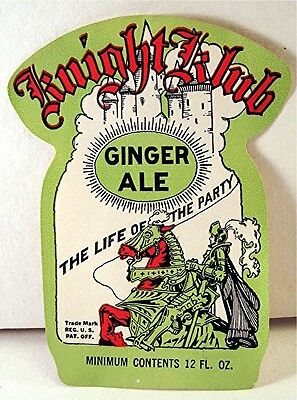 Early Knight Klub Ginger Ale J F Lazier Mfg Co 12 Oz Label St Louis Mo Old Stock