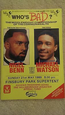 WHO'S BAD Nigel Benn and Michael Watson fight programme 21.05.1989 plus tickets