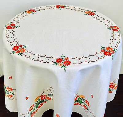 Vintage Large Exquisitely Embroidered Linen Table Cloth