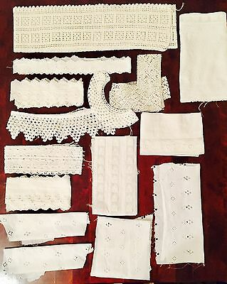 Vintage Large Lot Of Trimmings Includes Crochet & Embroidered Examples