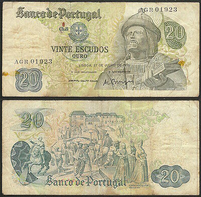 PORTUGAL - 20 escudos 1971 P# 173 Europe banknote - Edelweiss Coins