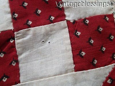 Set of 7 EARLY Antique c1860 Turkey Red QUILT Blocks