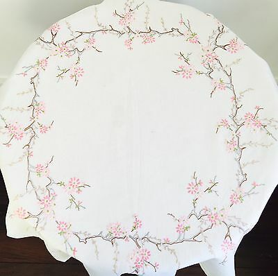 Vintage Stunning Embroidered Linen Table Cloth & Matching Tray Cloth Blossom