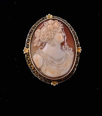 Victorian 12K Vintage Shell Cameo Hand Carved  Brooch