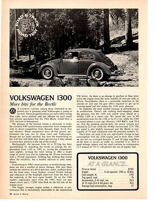 1966 Volkswagen 1300 Beetle  ~  Original 2-Page Road Test / Article / Ad