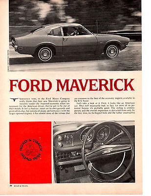 1970 Ford Maverick 120 Hp ~ Original 4-Page Road Test Article / Ad