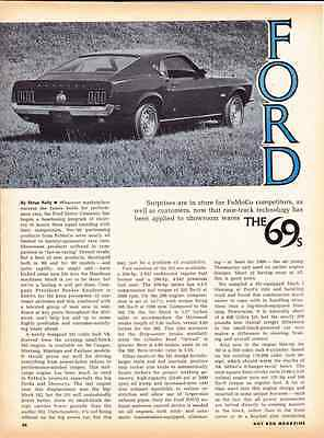 1969 Ford Mustang - Fairlane - Cyclone - Cougar  ~  Original 3-Page Article / Ad