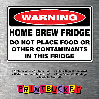 Home brew fridge sticker 150mm water & fade proof quality vinyl