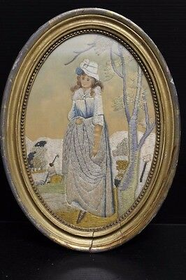 Antique Silk Embroidery Drawing Needlework Artwork Sampler of Woman - 1800's