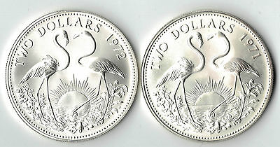 1971 &72 $2  Commonwealth Of The Bahamas  Coin .925 Silver Uncirculated  Dbw