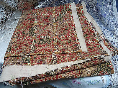 "Vtg P Kaufmann Upholstery Fabric Material Print Tan Red 232""L 6+ Yards 58"" Wide"