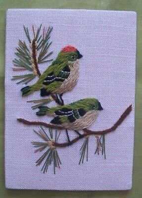 """Embroidery of 2 birds ready to frame 5 x 7"""""""