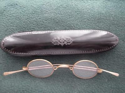 Victorian Laquered Inlaid Spectacle Case With Gold Colour Wire Framed Spectacles