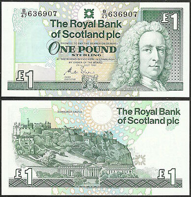 SCOTLAND - 1 pound 1991 P# 351b UNC Europe banknote - Edelweiss Coins