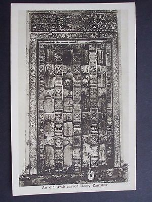 PRINTED POSTCARD AN OLD ARAB CARVED DOOR, ZANZIBAR     A. C. GOMES EARLY 1900s