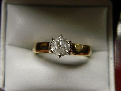 Round Cut Diamond Solitaire .90ct 14K Yellow Gold