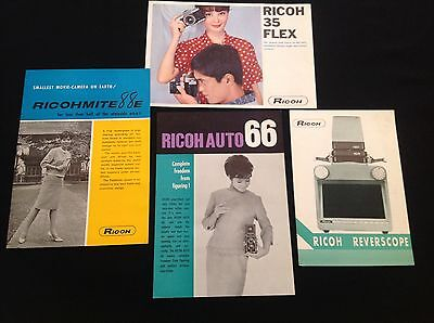 Vintage Ricoh Camera Equipment Brochures Leaflets