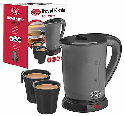 Electric Portable Dual Voltage 240v Small Travel Jug Kettle 0.5Litre + 2 Cups