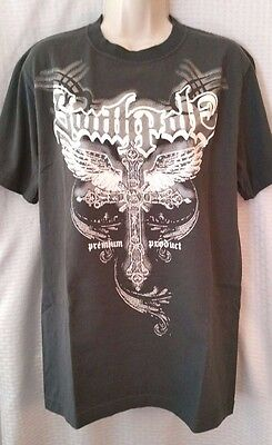Southpole T-Shirt Youth/ Junior Size L Gray White Rhinestones Bling Cross Wings