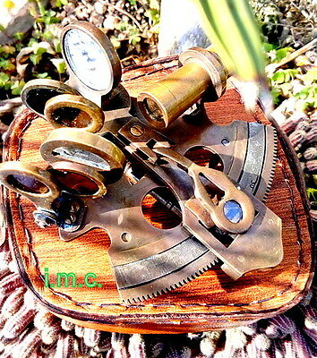 Vintage Brass Nautical Sextant Christmas Gift Sextant With Leather Box
