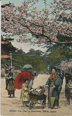 Vintage Postcard Under the Cherry Blossoms Tokio Japan Valentines Posted 1910