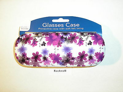 neat* floral purple GLASSES / SUNGLASSES HINGED HARD CASE ** bnwt ** same day UK