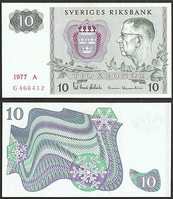 SWEDEN - 10 kronor 1977 P# 52d Europe banknote - Edelweiss Coins