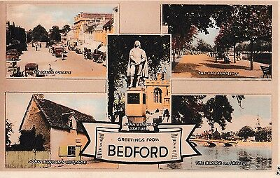 Colour Vintage Postcard Greetings From Bedford Multi View Photochrom Unposted