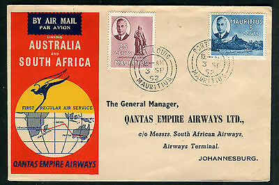 Mauritius QANTAS 1952 First Flight cover FFC to South Africa