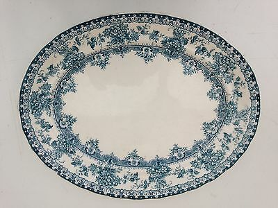 Late Mayers Oval Plate  Blue With Flowers