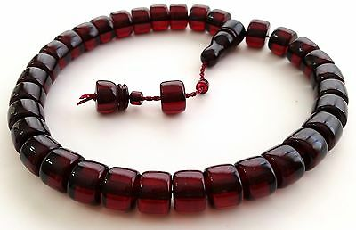 Dark Red Fire Pressed Amber Prayer Beads Tesbih Misbaha Tasbih Free Shipping