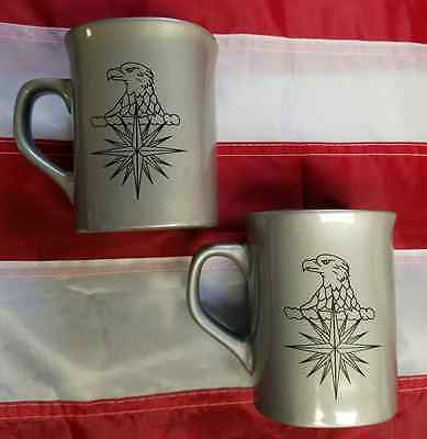 Set of 2 CIA Central Intelligence Agency Silver Coffee Mugs Eagle & Compass Star