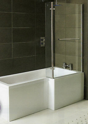 Whirlpool Shower Bath L Shaped Right Hand 'MATRIX' 1500mm with 10 Jet System