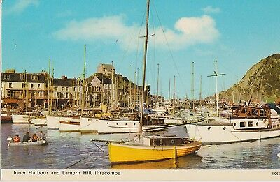 Vintage Postcard Inner Harbour and Lantern Hill Ilfracombe Devon