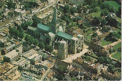 Postcard Sussex Aerial View Chichester Cathedral Posted 1974