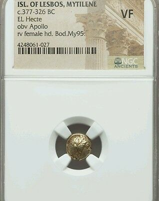 Isl. of Lesbos, Mytilene El Hecte NGC VF Ancient Gold Coin Ionia