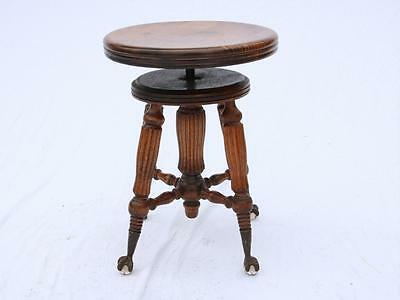 Antique Elavating Swivel Piano Stool Glass Ball Claw Feet Victorian Restored