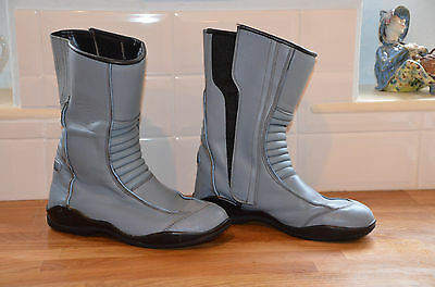Ladies Frank Thomas Leather Motorcycle Boots Size UK 7 & Matching Leather Gloves