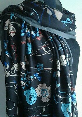 Ladies Large Size Stunning Black Floral & Butterfly Print Scarf BNWT