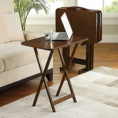 Folding 5 Piece Tv Tray Table Set Stand Dark Wood 4 Trays 31 H